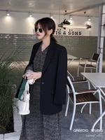black blazer female chic coat spring and autumn new hong kong style long sleeve casual slim suit