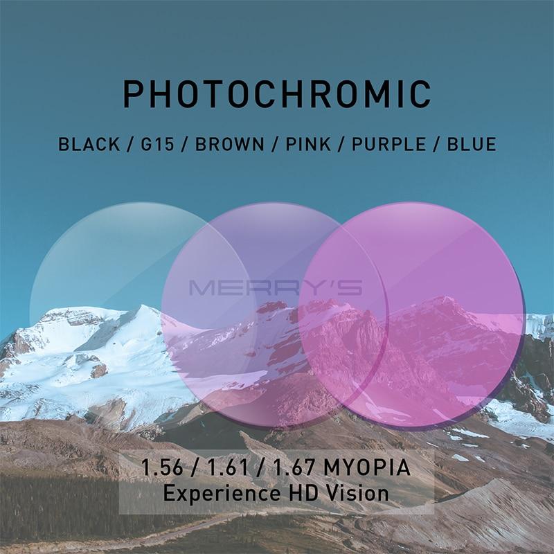 MERRYS-عدسات فوتوكرومية ، عدسات طبية لقصر النظر ، مد البصر ، رمادي ، أخضر ، بني ، وردي ، بنفسجي وأزرق ، 1.56 ، 1.61 ، 1.67