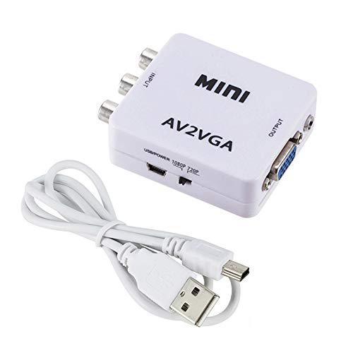 Mini HD 1080p AV2VGA Caixa adaptador Conversor de Vídeo AV RCA CVBS ao Conversor De Vídeo VGA Conversor HDTV PC com 3.5 milímetros de Áudio