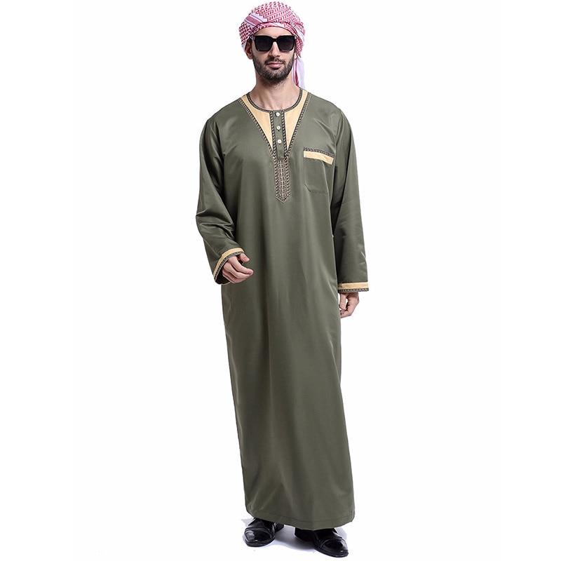 Moda vestido islâmico muçulmano arábia saudita bordado botão de bolso manga longa robe masculino índia paquistão saia ramadã masculino