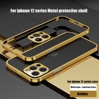 shockproof metal bumper phone case for iphone 12 pro max 12 mini coque luxury plating aluminium frame camera protective cover