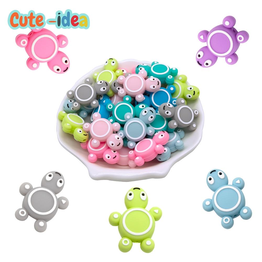 Cute-idea 10pcs Silicone Turtle Beads Baby Cartoon Animal Mini Tortoise Teething Teether DIY Infant Nursing Pacifier Chain Toys