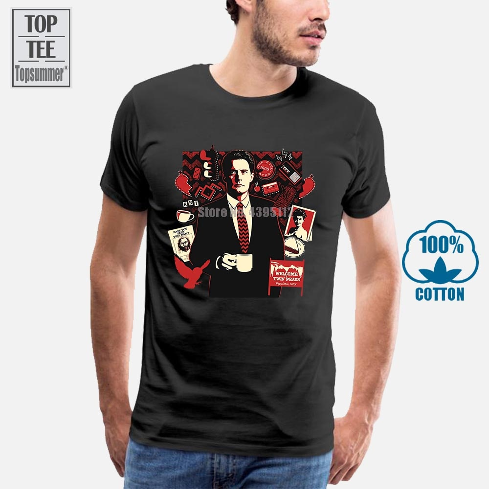 Camiseta de manga corta con estampado de Twin Peaks para hombre