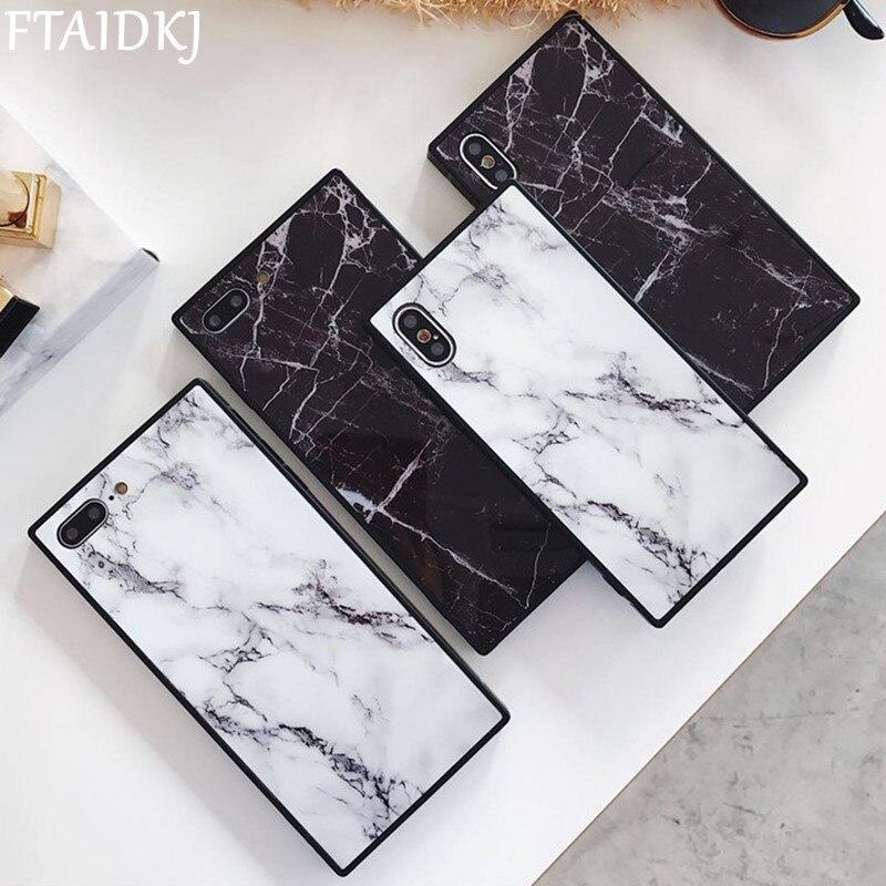 Funda de teléfono cuadrada de lujo para iPhone 11 Pro Max X XR XS funda de TPU suave con patrón de mármol a la moda para iPhone 6 6s 7 8 Plus Capa