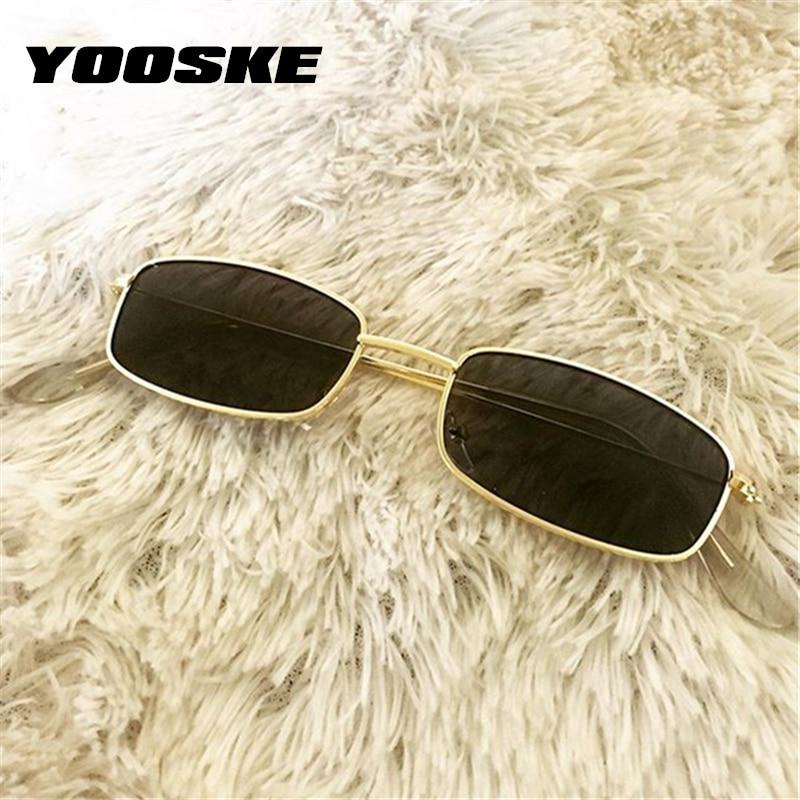 YOOSKE Retro Sunglasses Men Small Rectangle Sun Glasses Retro Shades for Women Metal Frame Black Pin