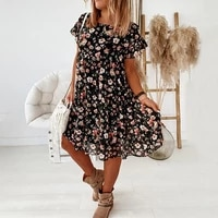 summer womens dress casual floral print dress 2021 boho short sleeve women fashion female loos ruffles mini dresses robe femme
