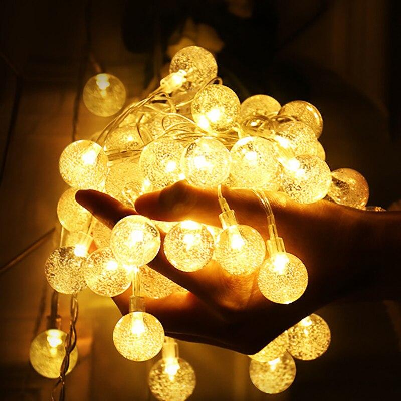 10M 100LED 6M 40LED luces de bola de burbuja de cristal Garland batería Flash lámpara de hadas al aire libre para vacaciones de Navidad decoración de casa