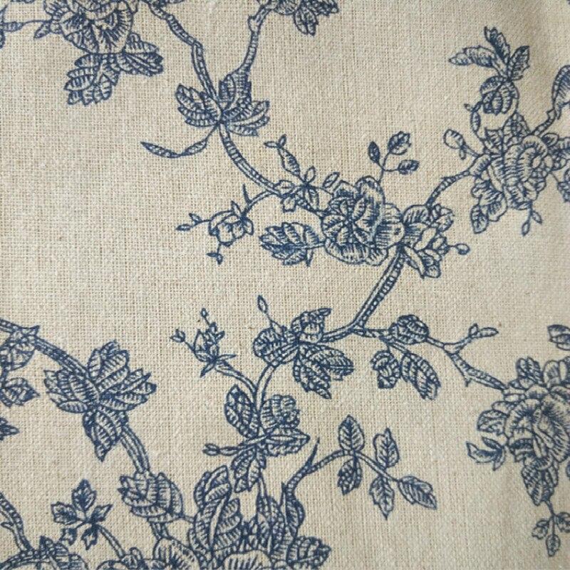 Tela de lino de impresión y teñido de flores azules Retro almohada sofá tela de algodón hecho a mano tela de lino impresa DIY