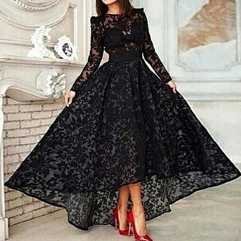 Robe de soirée noire musulmane, forme trapèze, manches longues en dentelle, style dubaï, arabe islamique, tenue de soirée