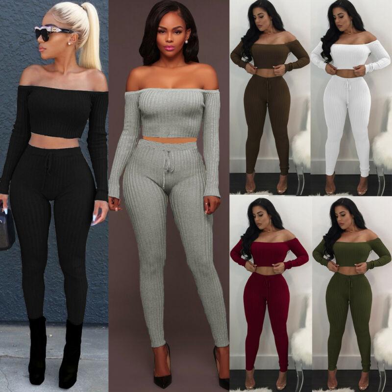 Women 2Piece Outfits Long Sleeve Off Shoulder Crop Top Pants Set Casual Jumpsuit