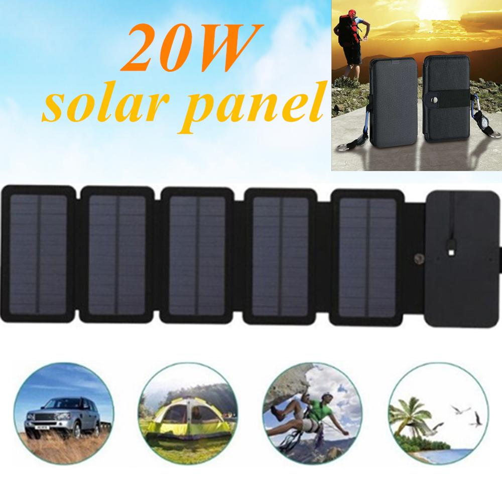 KERNUAP 20W SunPower Folding Solar Cells Charger Outdoor 5V 2.1A USB Output Devices Portable Solar Panels for Phone Charging