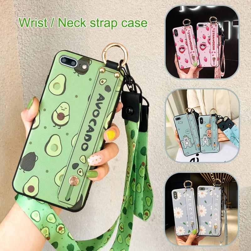 Avocado Neck Strap Case for Huawei Honor 10 Lite 8X 9 9i 9N 10i 20i V10 V20 Play 7C Pro Wrist Strap Lanyard Cover Stand Holder