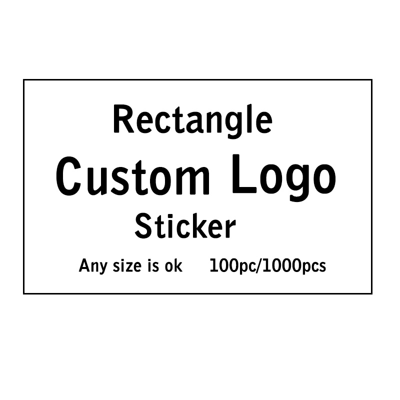 100pcs Custom Rectangular Logo Black and Transparent Background Wrapping  Gift Waterproof White Paper