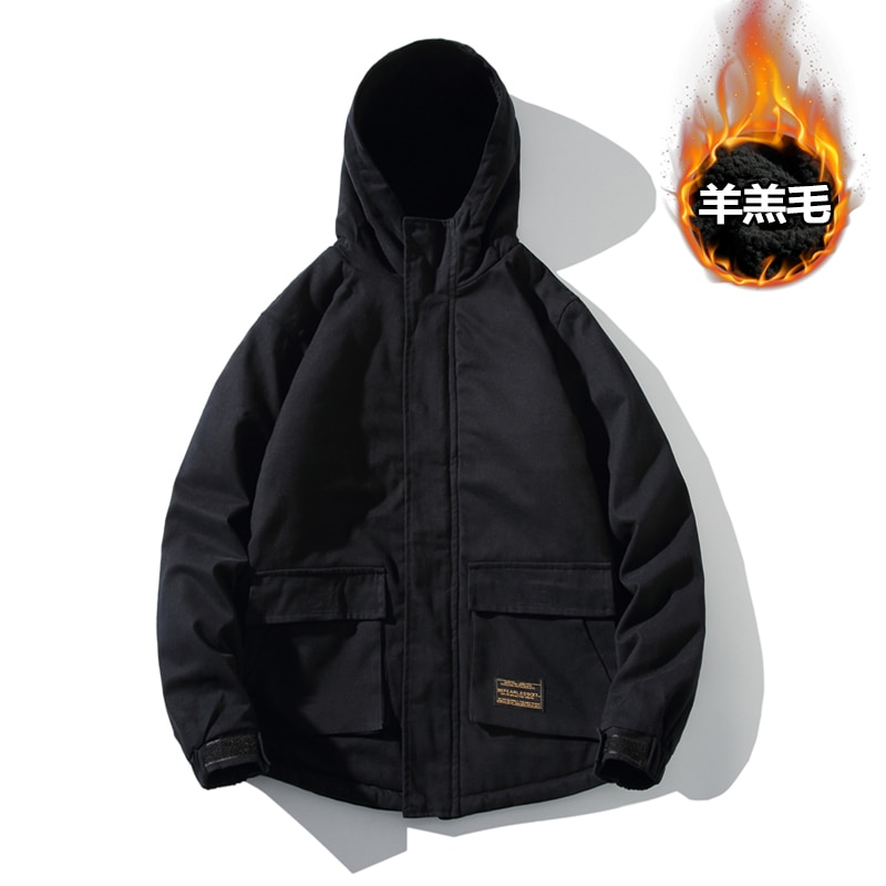 Men s Windproof Coat Winter Youth Solid Color Hooded Long Sleeve Military Fashion Jacket Thick Casual