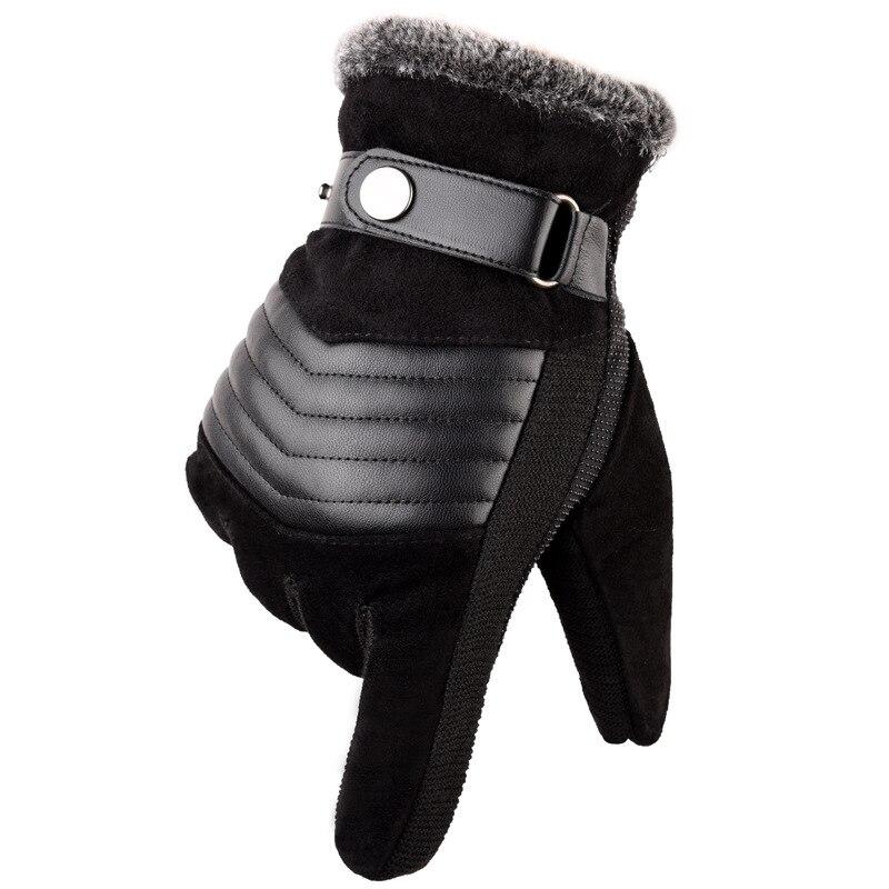 Мужские кожаные перчатки, настоящая свиная кожа, русские зимние перчатки, теплые плотные мужские перчатки для вождения и катания на лыжах