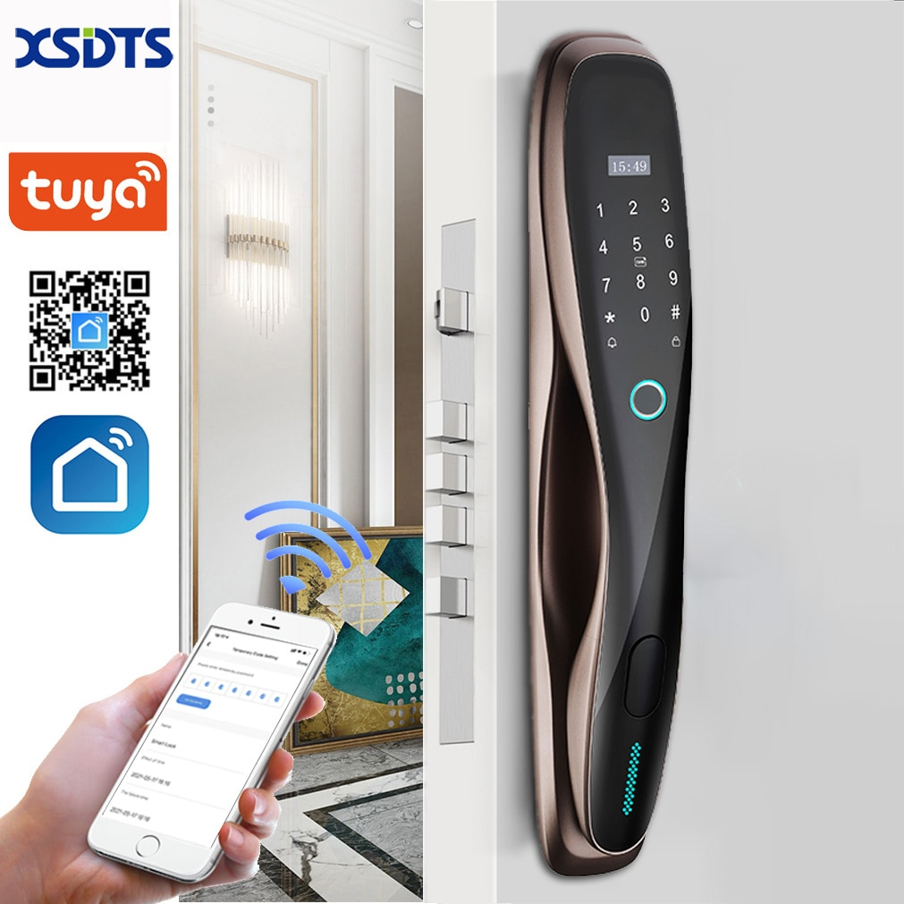 Tuya قفل باب رقمي ذكي واي فاي بصمة حيوي فتح العمل مع التطبيق منتج منزلي ذكي الحياة الذكية