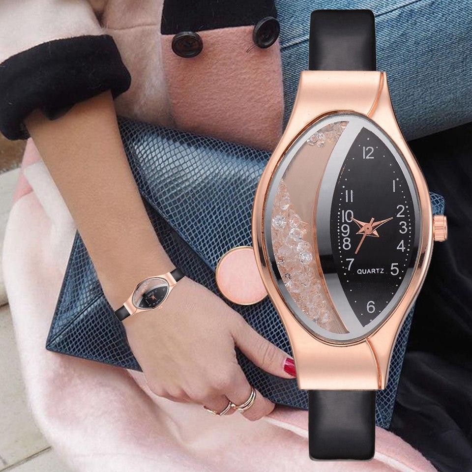 Women's Watch Wrist Watches For Women Fashion Luxury Watch Leather Strap Women Bracelet Clock Ellipse Rhinestone PU Sport Watch