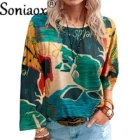 2021 autumn new map printing graffiti long sleeve women t shirt tops ladies splice fashion o neck casual loose pullover t shirts