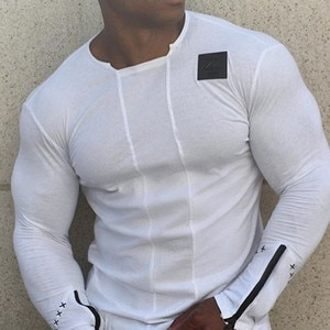 New High Quality Men's Casual Shirt Letter Print Tanks O-neck T-shirt Tight Muscle Bodybuilding Speed Drying Hip-hop Tees tops