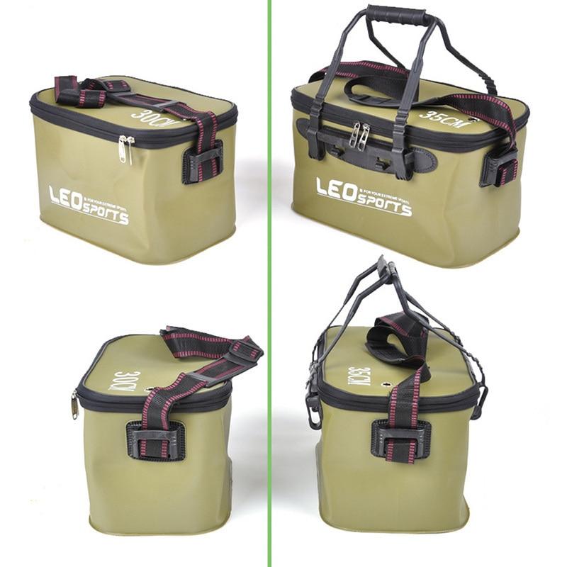 Caja de pesca plegable Cubo de pesca resistente al desgaste EVA bolsa para pescar al aire libre cubo con cremallera Camping pesca caja de tachuelas con asa