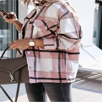 hot sale fashion women plaid shirt jackets casual loose oversized jacket turn down collar coat streetwear female autumn outwear