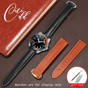 Replacement Strap For Seamaster De Ville Series Men's Genuine Leather Watchband 20 21 22mm Black Brown With Folding Buckle Belt