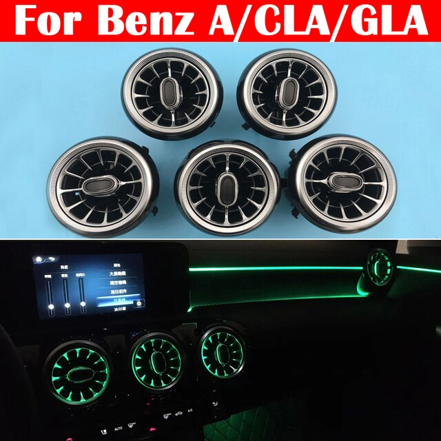 12-color LED Car Air Vent Outlet Turbine Nozzle Atmosphere Lamp For Mercedes-Benz A/CLA/GLA class W176 W117 W156 Ambient Light