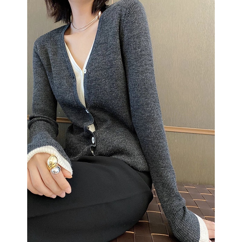 Cardigan Women 100% Wool One Piece Set  Sweatshirt Casual Style Knitted Patchwork V Neck Long Sleeve 2 Colors New Fashion enlarge