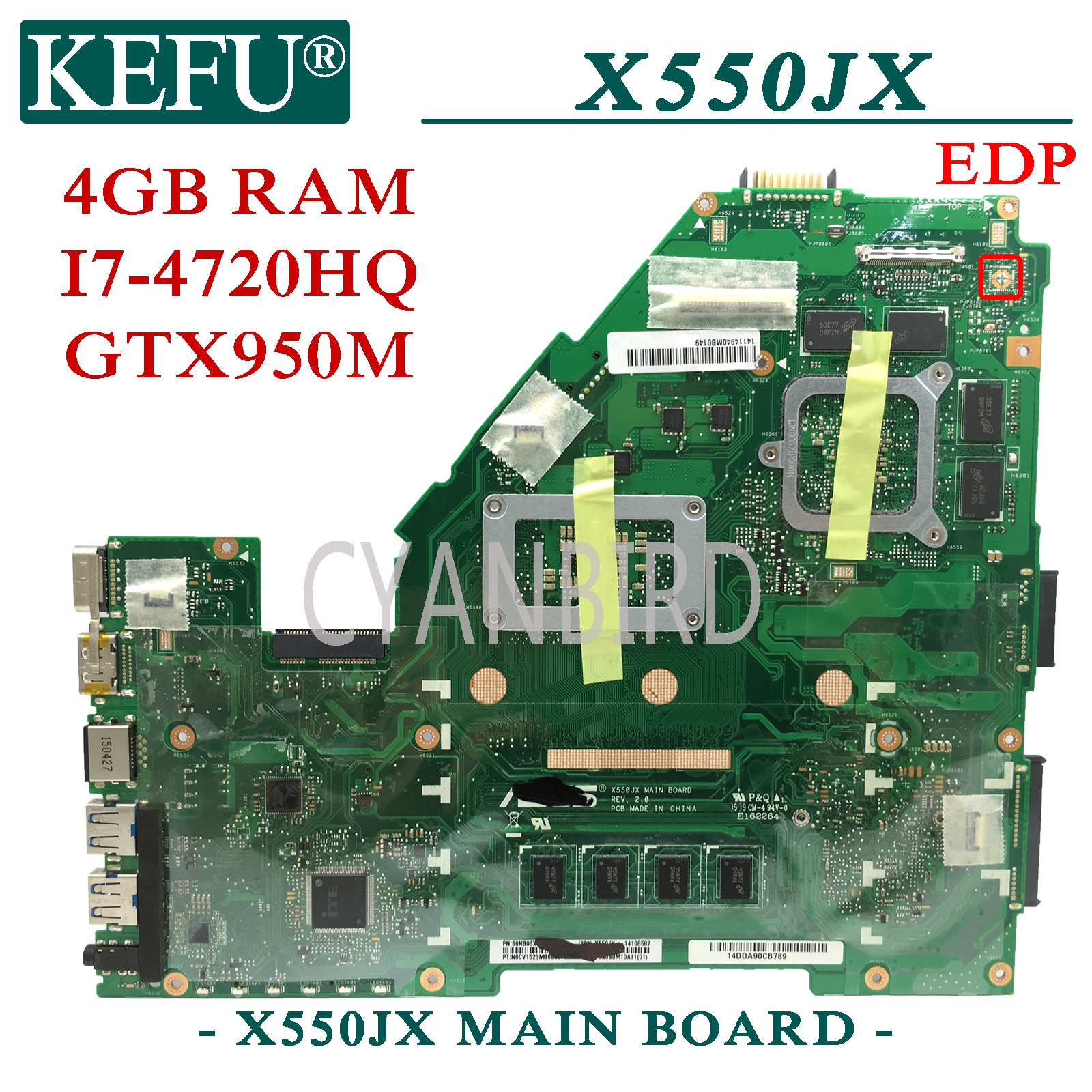 KEFU X550JX الأصلي اللوحة الرئيسية ل ASUS X550JX X550JF X550JK X550JD X550J مع I7-4720HQ GTX950M EDP اللوحة الأم للكمبيوتر المحمول