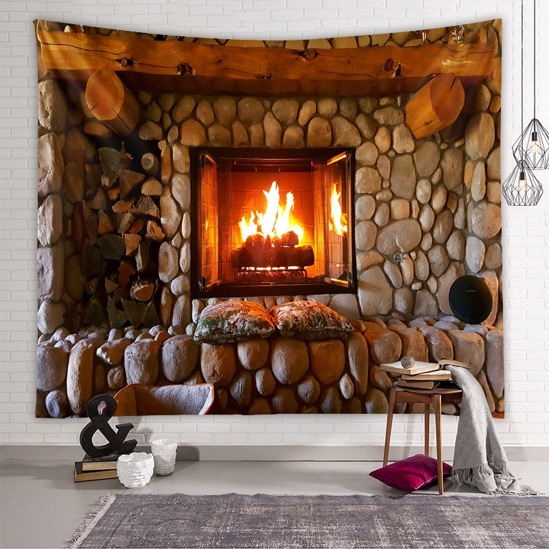Magic Retro Fireplace Bookshelf Tapestry Art Wall Hanging Tapestries Bedspread Throw Warm Feeling Beautiful Home Decoration