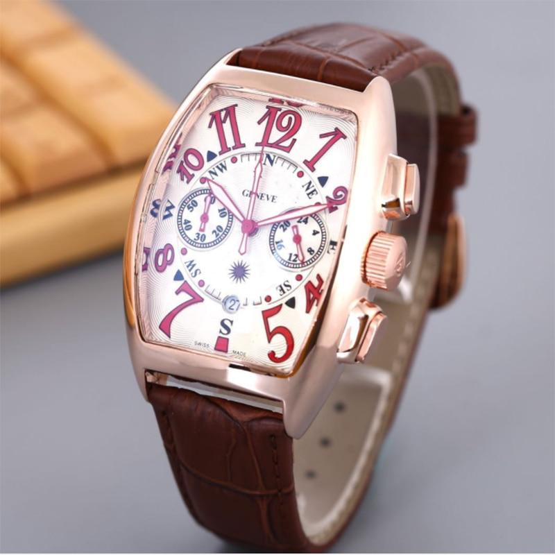 ساعات رجالية دلو الشكل F مولر كوارتز ساعة اليد الأسبوع عرض جاكيت جلدي موضة العلامة التجارية الفاخرة ساعة عمل للرجال