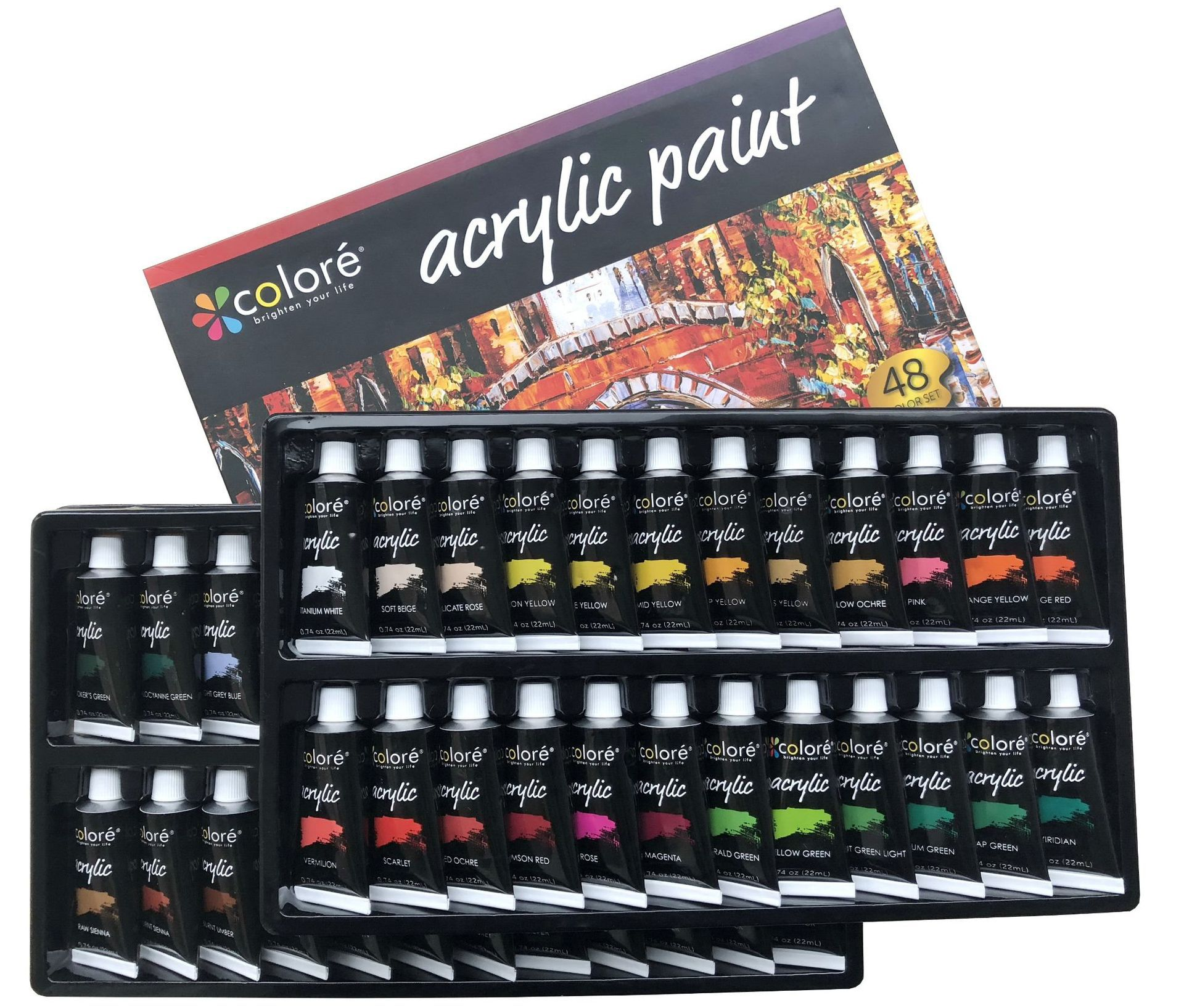 Acrylic Paint Set,48 x22ml Tubes Artist Quality NonToxic Rich Pigments Colors Great for Kids Adults Professional Painting Crafts