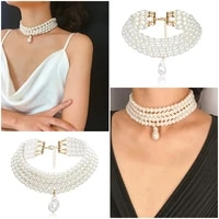 2021 fashion retro imitation pearl multilayer necklace necklace lady pearl necklace wedding jewelry gift wholesale