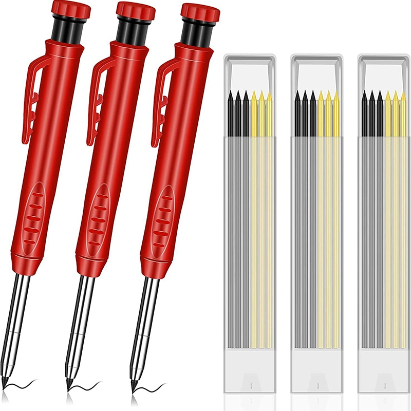 Solid Carpenter Pencil Set with 7 Refill Leads, Built-in Sharpener, Deep Hole Mechanical Pencil Marker Marking Tool