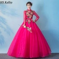 hot pink quinceanera dresses with long sleeve chic lace appliques soft tulle ball gown prom party dress