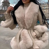 winter pu leather jackets women fashion tie belt waist short coats women elegant side pockets warm faux fur jackets female lady