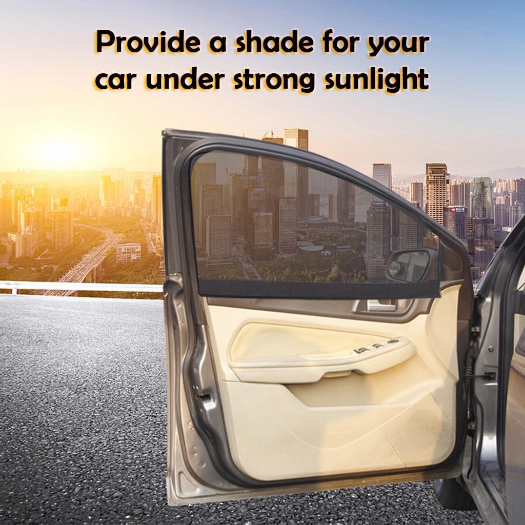 CARPRIE 2pcs Magnetic Car Mesh SunScreen Shield Anti-UV Side And Side Window Cover Sunscreen Universal Block Polyester Visor