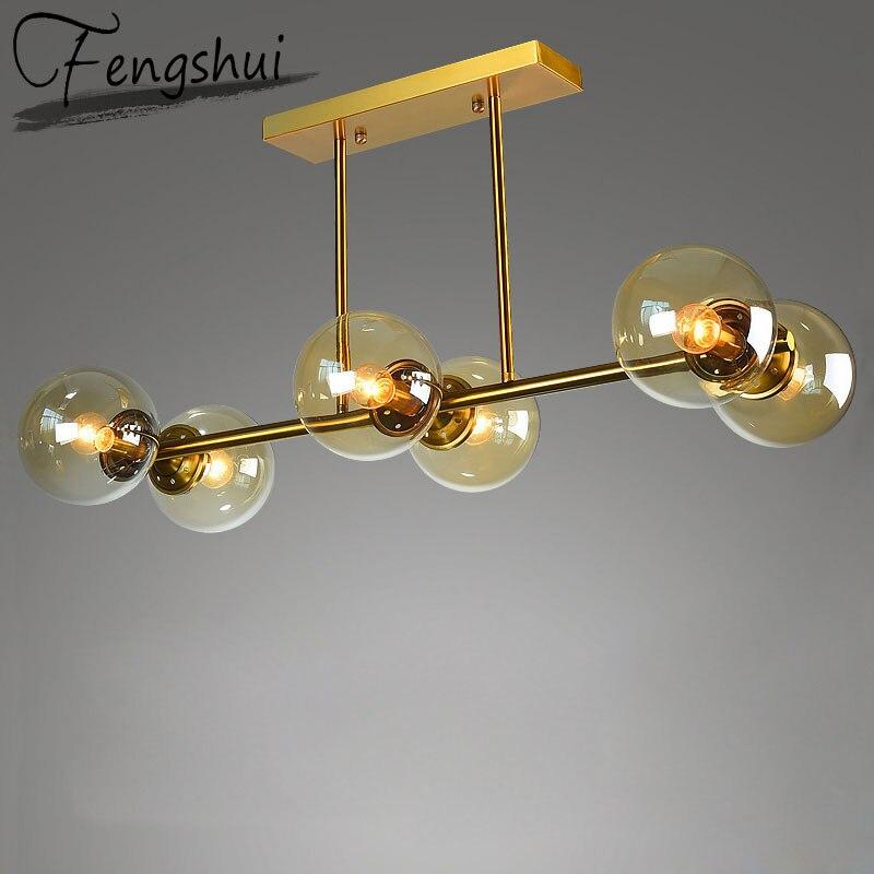 נורדי ברזל זכוכית תליון אורות תאורה מולקולת תליון מנורת סלון חדר שינה מסעדת מטבח גופי תליית מנורה