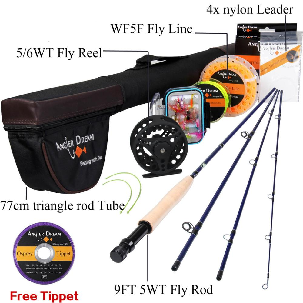 ANGLER DREAM Fly Fishing Rod 30T Carbon Fiber Appliance Accessorie With Fly Fishing Reel And Fly Fishing Line Combo Free Tippet