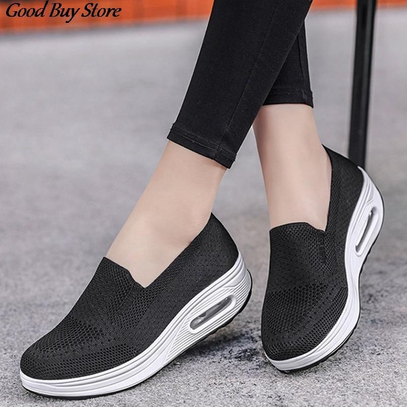 Shake sapatos femininos verão almofada de ar tênis respirável sapatos casuais fundo grosso muffins plataforma enfermeira calçados moda 2020