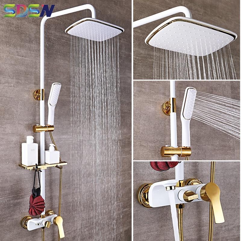 Shower Set SDSN White Gold Bathroom Shower System Quality Copper Brass Bathtub Faucet Rainfall Showe