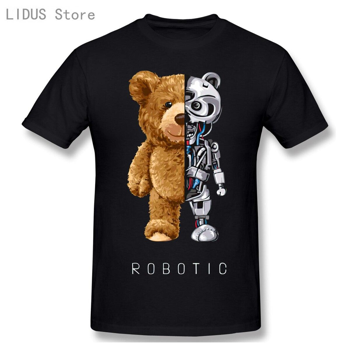 AliExpress - 2021 New Funny Teddy Bear Robot Tshirt Robotic Bear Shirt Casual Clothes Men Fashion Clothing Cotton T-Shirt Tee Top