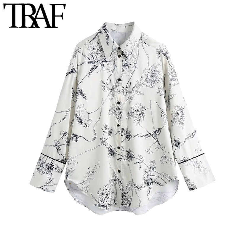 traf moda feminina floral impressao solto assimetrico blusas vintage manga longa