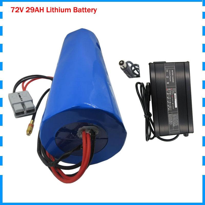 Tasa de aduanas gratis 72V 29AH batería 72V forma de cilindro Paquete de batería utiliza panasonic 2900mah célula 50A BMS con 2A cargador