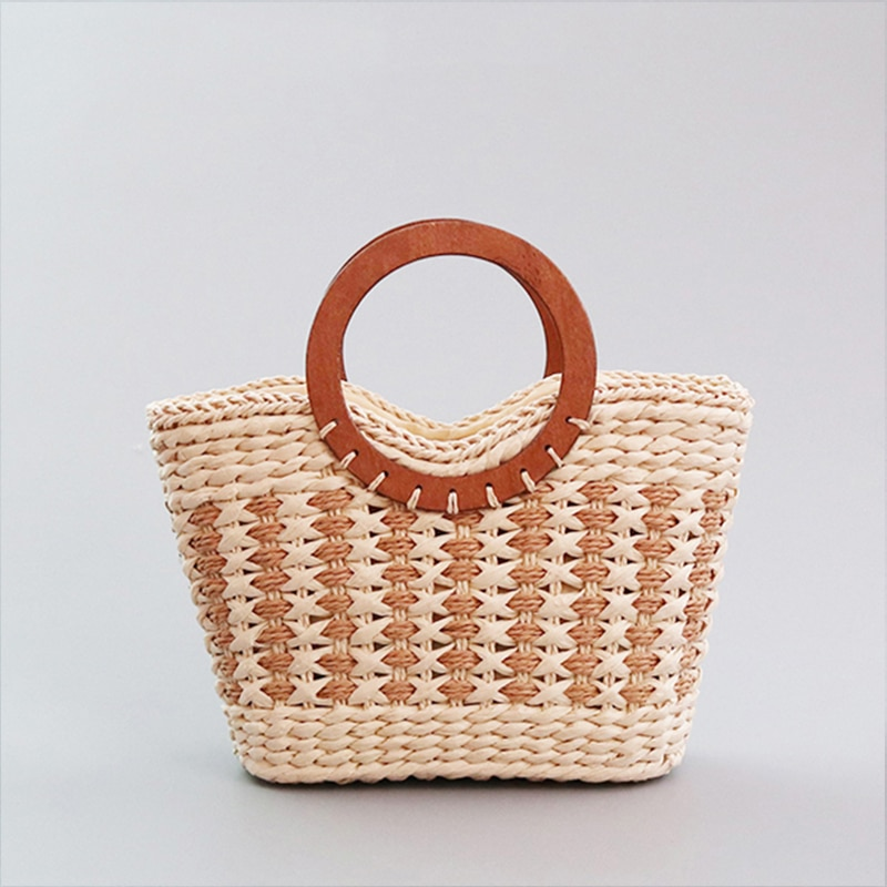 Vintage Hollow-out Straw Woven Women Handbags Round Wooden Top Handle Women's Bag Large Capacity Beach Tote Bags For Women 2021