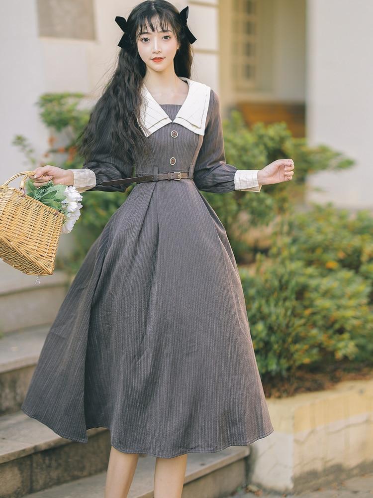 طويلة الأكمام التلبيب الفن الرجعية فستان طويل الخريف الشتاء قاعدة