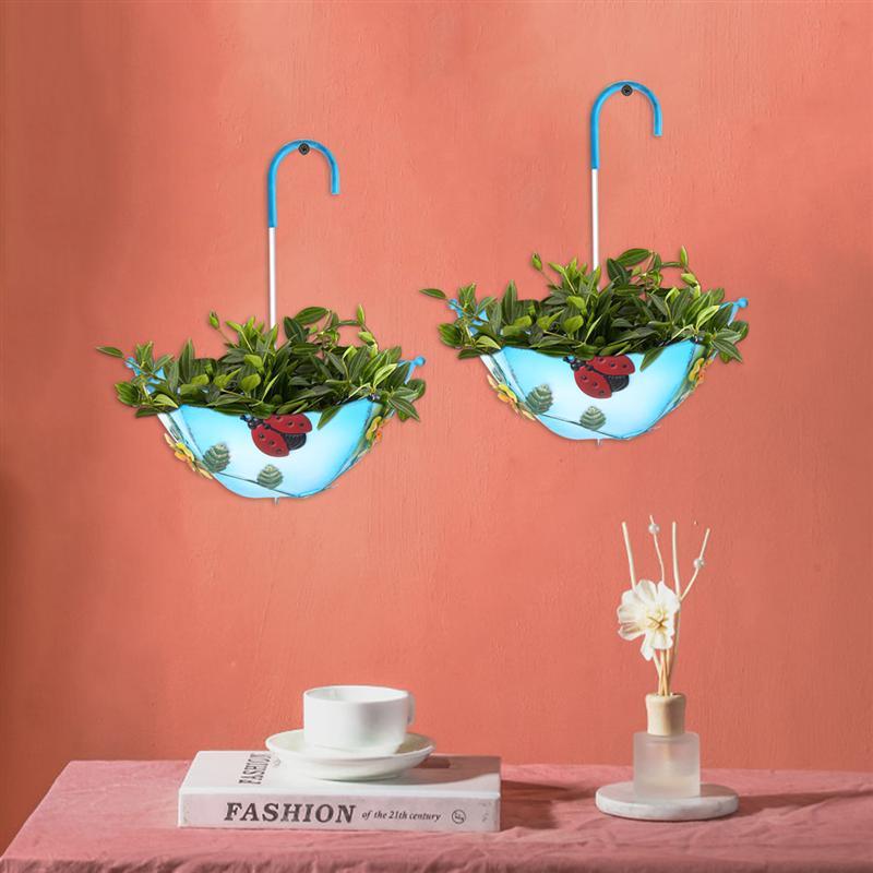 Ferro guarda-chuva pendurado vaso plantador fixado na parede flor forma guarda-chuva pingente estilo industrial ferro forjado pendurado para café