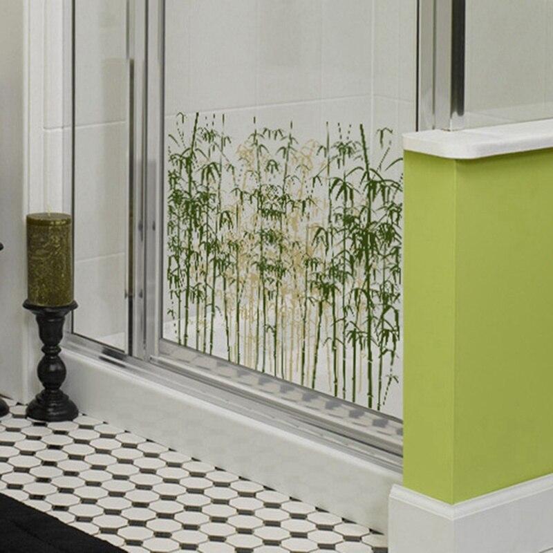 Nueva pasta de vidrio molido PVC translúcido Ventana de pegamento trasero baño ventana pasta decorativa de vidrio papel bambú bosque patrón