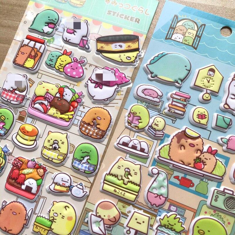 Bonito dos desenhos animados japoneses sumikko gurashi 3d inchado anime adesivos scrapbooking diário diy adesivo papelaria adesivos