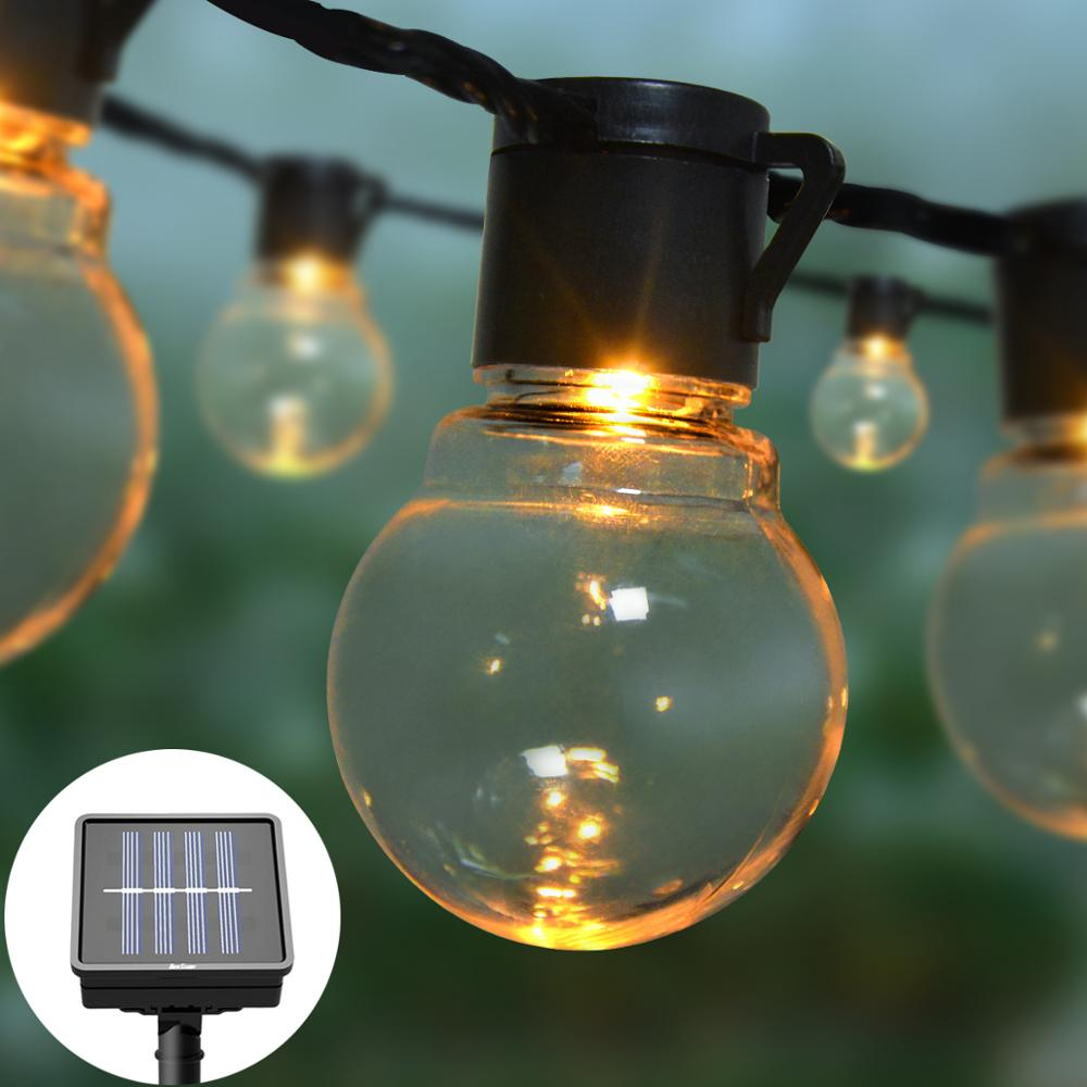 Solar power Wall Light 2.5M 5M 10/20 LEDs Bulbs String Garland Outdoor Lighting Waterproof balcony Patio Decoration Light Chain